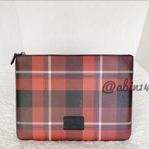 NWT Coach Large Plaid Pouch Wristlet Tablet Case